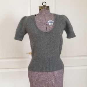 Zara Angora Blend Short Sleeve Sweater